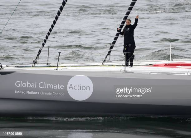 Climate change activist Greta Thunberg sets sail for New York in the 60ft Malizia II yacht from Mayflower Marina on August 14 2019 in Plymouth...