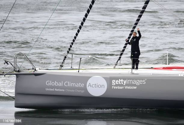 Climate change activist Greta Thunberg sets sail for New York in the 60ft Malizia II yacht from Mayflower Marina, on August 14, 2019 in Plymouth,...