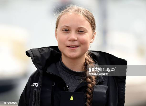 PLYMOUTH ENGLAND AUGUST 14 Climate change activist Greta Thunberg speaks at a press conference before setting sail for New York in the 60ft Malizia...