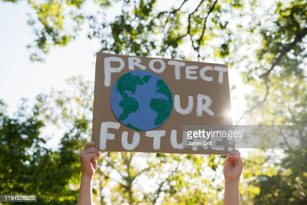 climate change activist holding sign - attivista foto e immagini stock