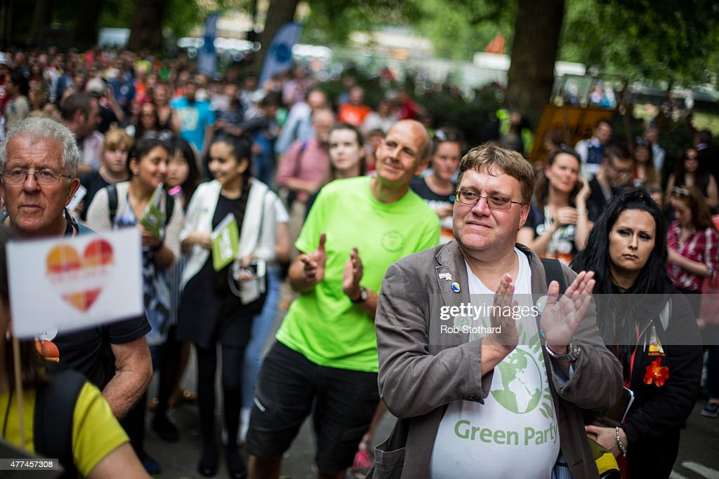 Climate change activists attend a rally on Millbank in Westminster on June 17, 2015 in London, England. People from all over the country travelled to London to discuss climate change with their MPs, part of 'For The Love Of', a day of activities organised by The Climate Coalition, Stop Climate Chaos Scotland and Stop Climate Chaos Cymru.