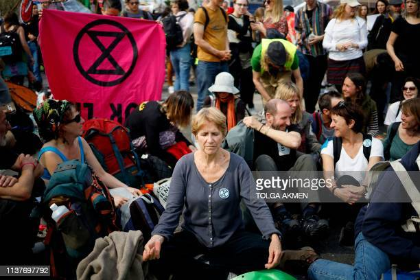 Climate change activists blockade Waterloo bridge on the third day of an environmental protest by the Extinction Rebellion group in London on April...