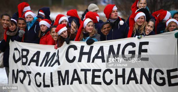 Climate change activists protest outside the UN Climate Change Conference on December 18 2009 in Copenhagen Denmark World leaders will try to reach...