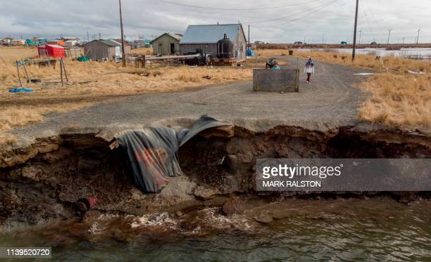 Climate change erosion caused by melting permafrost tundra and the disappearance of sea ice which formed a protective barrier, threatens houses from...