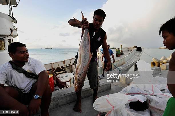 Climate change Kiribati Islands Fishermen at the Port of Tarawa