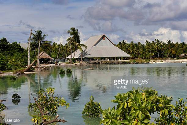 Climate change Kiribati Islands Villagers on the island of Abaiang have had to relocate their village called Tebunginako due to rising seas and...