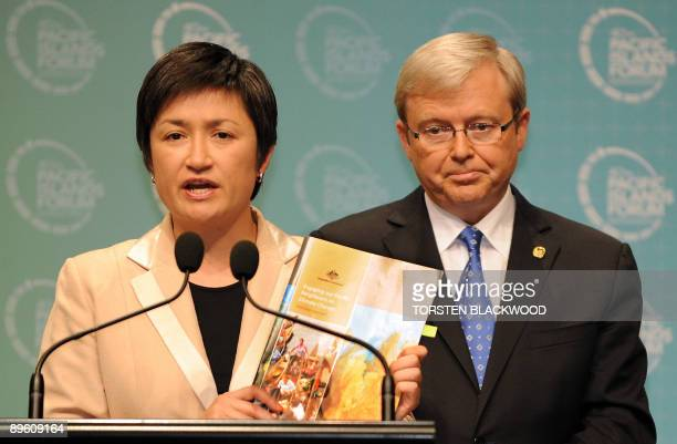 Climate Change Minister Penny Wong presents the 'Engaging our Pacific Neighbours on Climate Change' report as Australian Prime Minister and incoming...