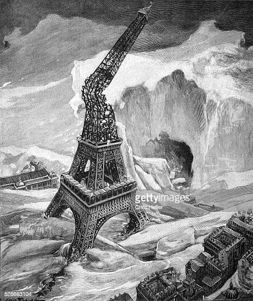 Climate Change or New Ice Age Destroys the Eiffel Tower in Paris France 1902
