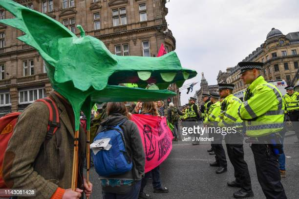 Climate change protesters block one of the main roads into Edinburgh's city centre on April 16 2019 in Edinburgh Scotland Supporters of Extinction...