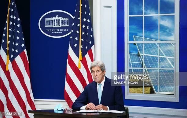 Climate Envoy John Kerry speaks during a virtual meeting with the Major Economies Forum on Energy and Climate to galvanize efforts to confront the...