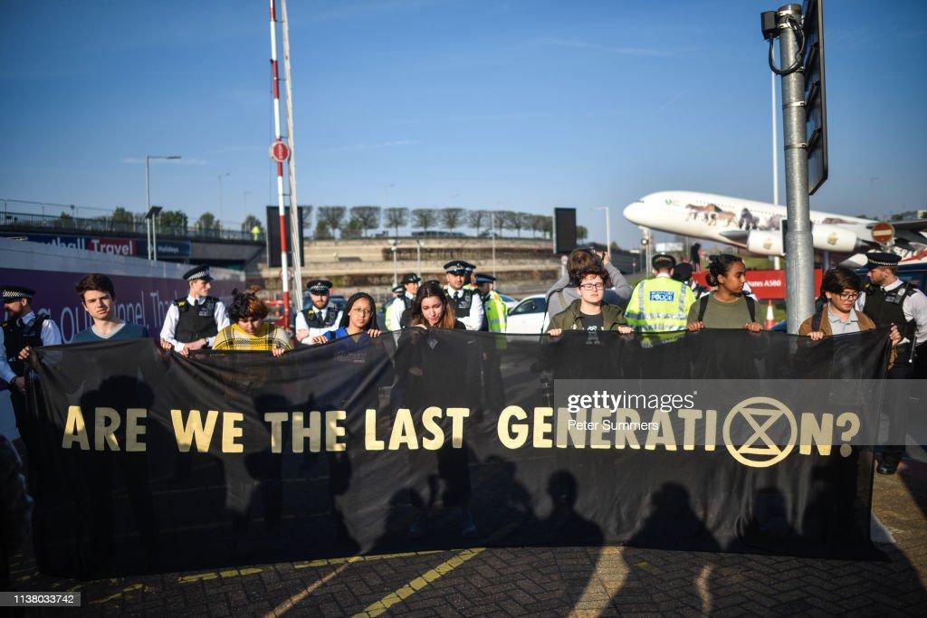 Extinction Revolution Protest At Heathrow Airport : News Photo