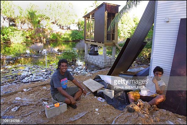 Climate Warming And Water Rise Threaten Pacific Nation Of Tuvalu On January 4Th 2002 In Funafuti Tuvalu Australian Project For The Construction Of...