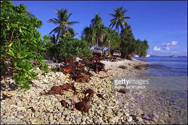 Climate Warming And Water Rise Threaten Pacific Nation Of Tuvalu On January 4Th 2002 In Funafuti Tuvalu Wrecks Of Cars On The Beach Of Funafuti