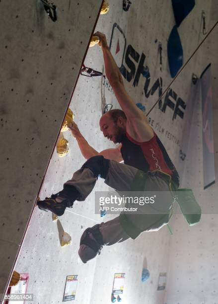Climber Albert Guardia Ferrer of Spain competes in the English stage of the IFSC Paraclimbing Cup at the Awesome Walls climbing centre in Sheffield...