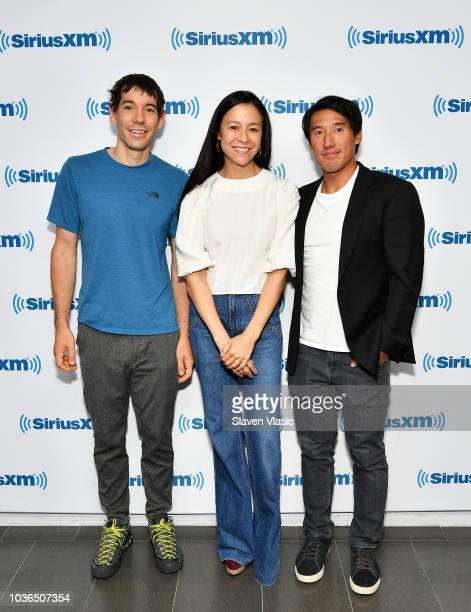 Climber Alex Honnold filmmakers Elizabeth Chai Vasarhelyi and Jimmy Chin visit SiriusXM Studios on September 20 2018 in New York City