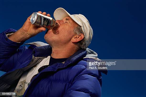 Climber Don Morrill Drinking a Beer