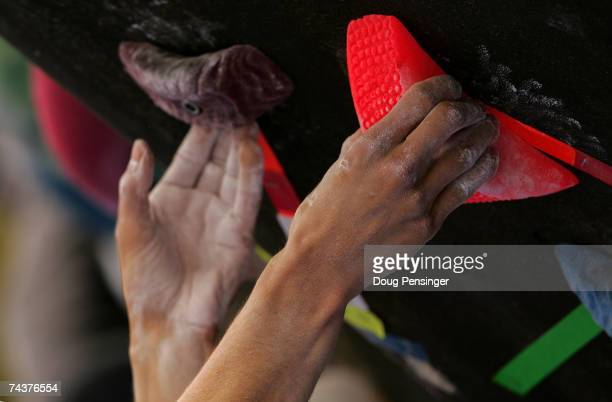 Climber gets a grip during the Pro Bouldering Qualifier during The Teva Mountain Games on June 1, 2007 in Vail, Colorado.