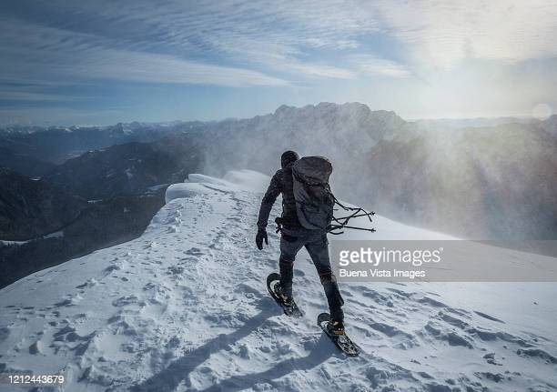 climber in a snow storm - 冠雪 ストックフォトと画像