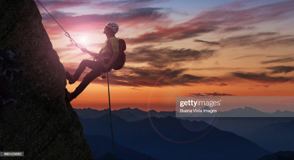 Climber on a rocky wall : Stock Photo