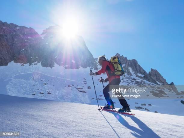 Climber on a snowy slope