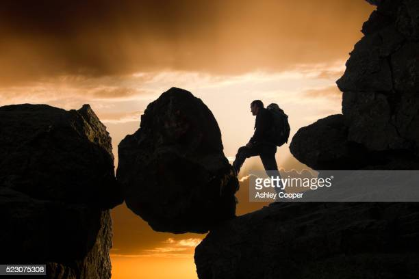 a climber on dow crag at sunset, lake district, uk. - ashley grace stock pictures, royalty-free photos & images