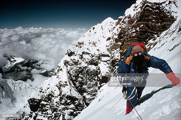 Climber on Steep Slopes of Mount Everest