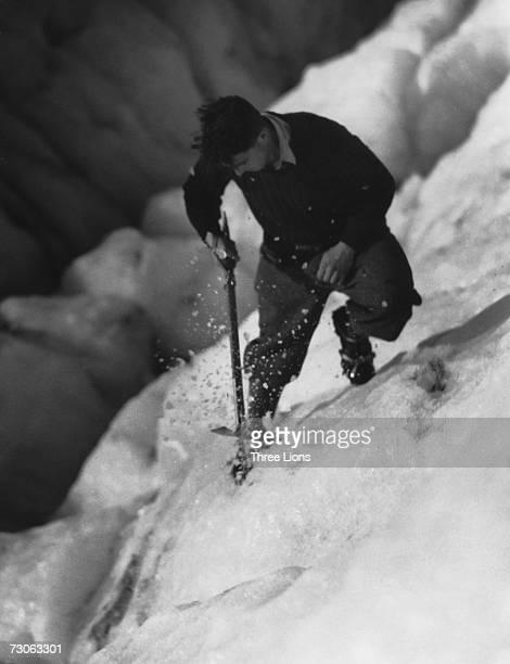 A climber on the Fox Glacier in Westland National Park on the West Coast of New Zealand's South Island circa 1950