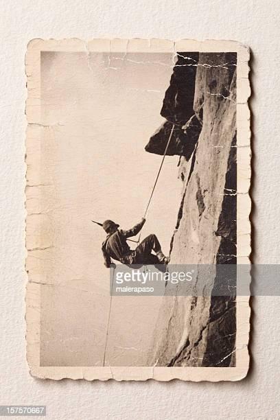 kletterer - schwarzweiß bild stock-fotos und bilder