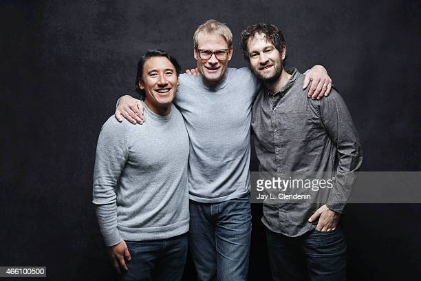 Climber Renan Ozturk climber Conrad Anker and director Jimmy Chin from the film 'Meru' pose for a portrait for the Los Angeles Times at the 2015...