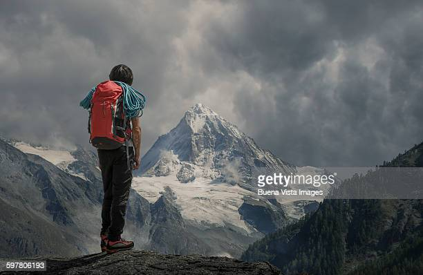 Climber watching a mountain