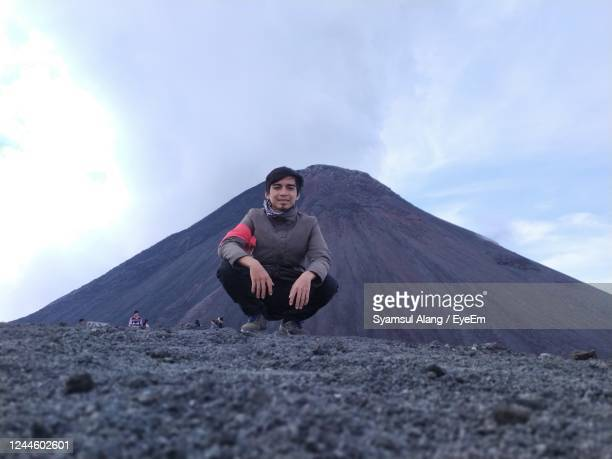 climber who managed to conquer mount lokon - langowan stock pictures, royalty-free photos & images