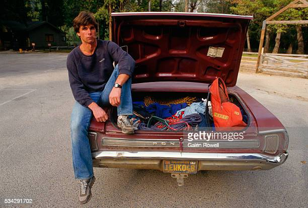 climber with equipment in trunk - climbing equipment stock pictures, royalty-free photos & images