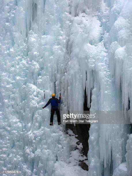 A climber works up a frozen waterfall at the Ouray Ice Park during the Ouray Ice Festival in January 2007 in Ouray Colorado
