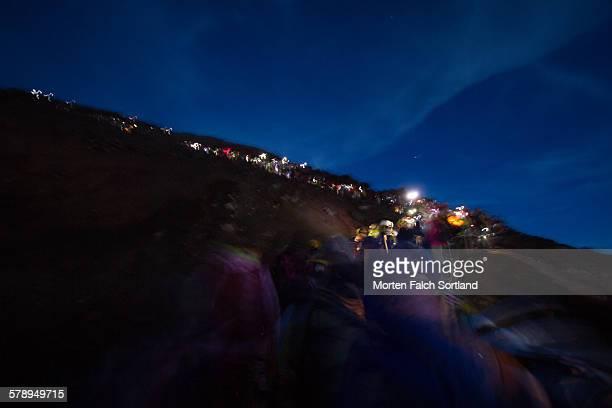 Climbers climbing Mount Fuji