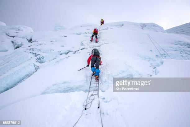Climbers climbing to the summit of Island peak, Nepal