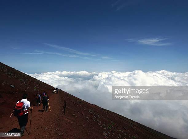 Climbers descend Mount Fuji