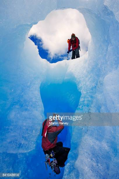 Climbers in Ice Cave on Grey Glacier