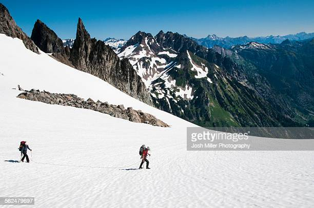Climbers making their way up the Dana Glacier on the Ptarmigan Traverse,