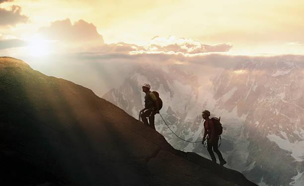 Climbers On A Mountain Ridge Wall Art