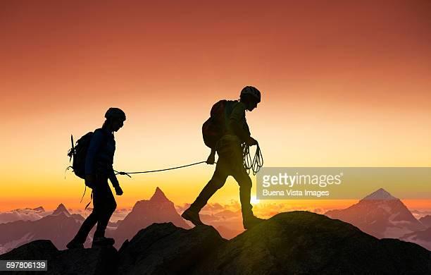 Climbers on a mountain ridge