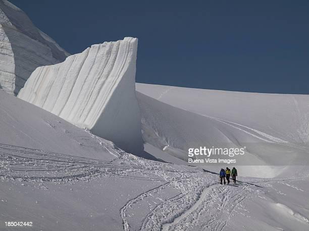 Climbers on an Alpine Glacier