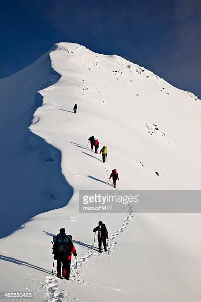 climbers on mountain ridge