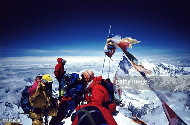 Climbers on Mt Everest's summit