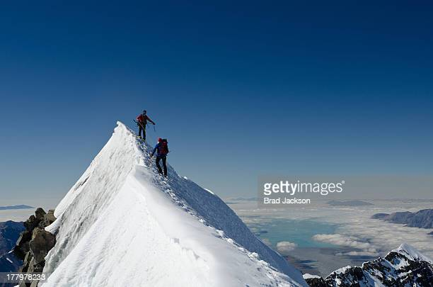 Climbers on summit ridge of Aoraki (Mt Cook)