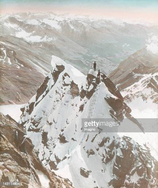 Climbers on their way to the Großglockner and the Big Wiesbachhorn Salzburg Austria Handcolored lantern slide around 1920