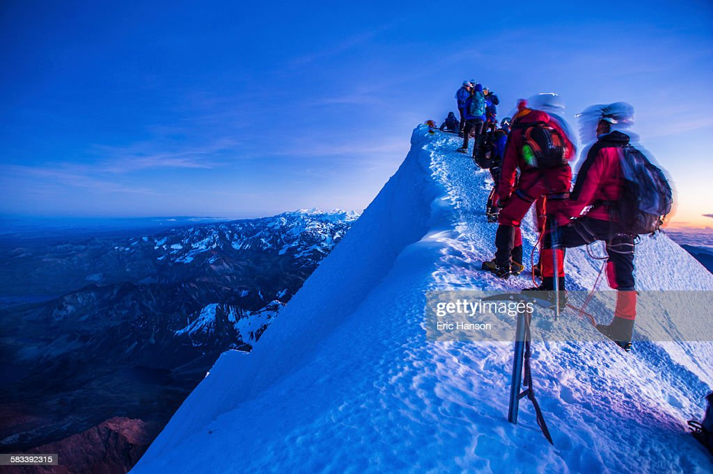 Climbers Reach the Summit of Huayna Potosí : Stock Photo