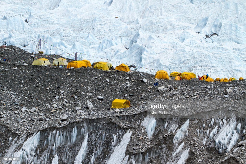 Climber's Tents at Everest Base Camp : Stock Photo
