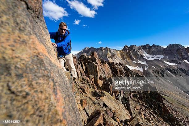 Climbing Along 4th Class Ridge