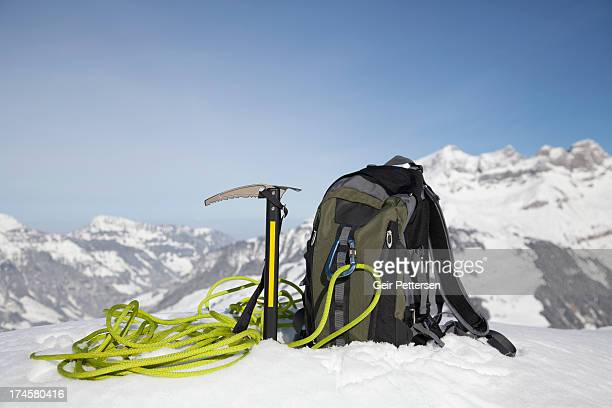 Climbing equipment in snow