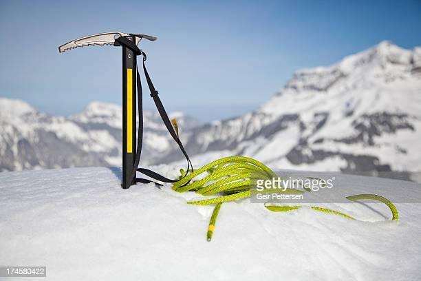 Climbing equipment in snow